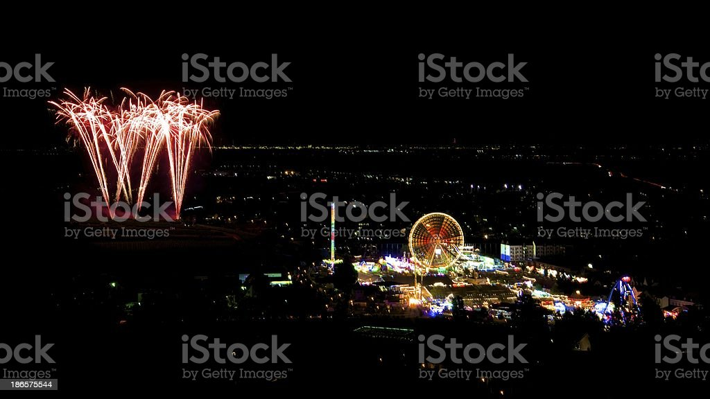 Fireworks at carnival in Bad Duerkheim royalty-free stock photo