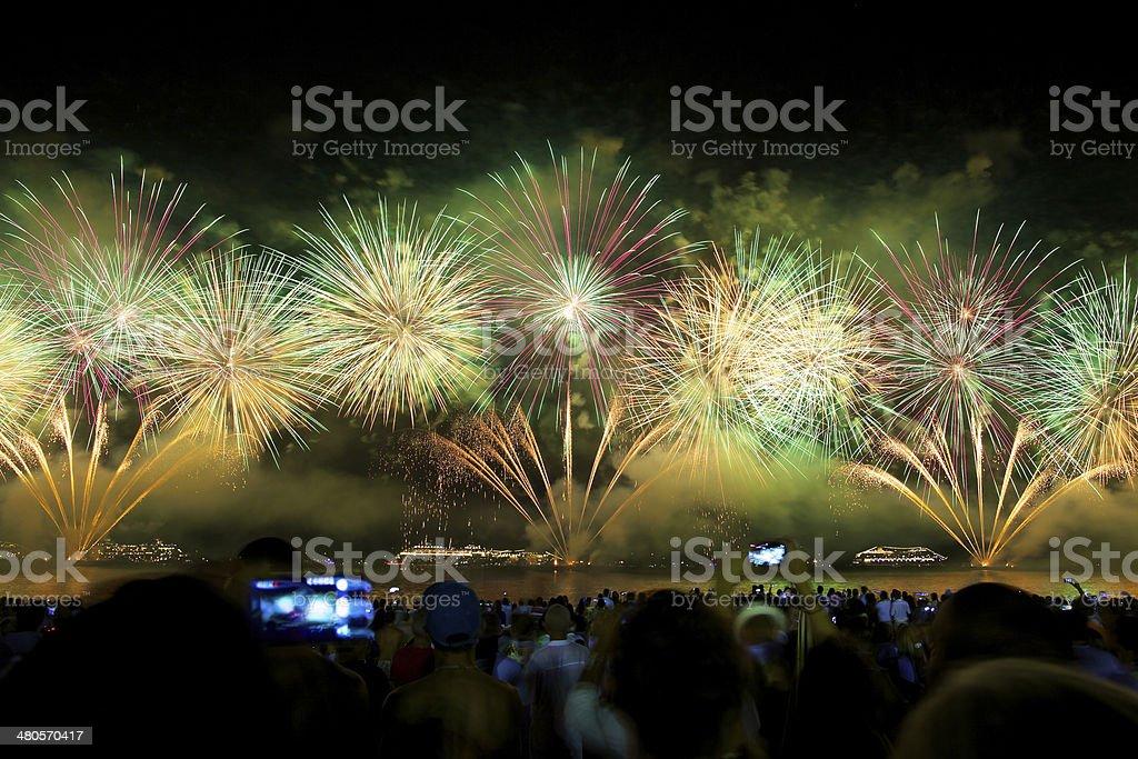 fireworks at Copacabana stock photo