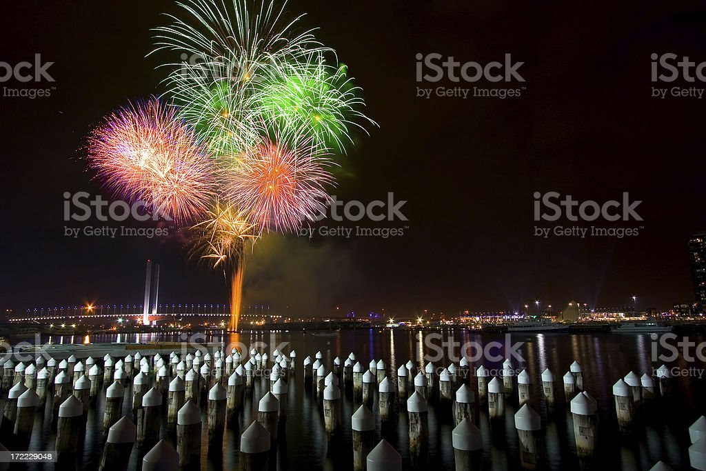 Fireworks at Docklands royalty-free stock photo