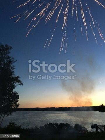 Fireworks at dusk at Lake Hebron Maine
