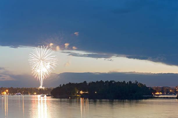 Fireworks at Dusk over Gull Lake stock photo