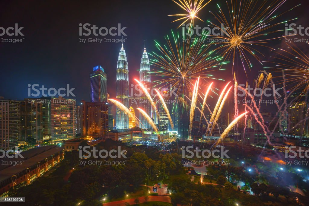 Fireworks at Kuala Lumpur stock photo