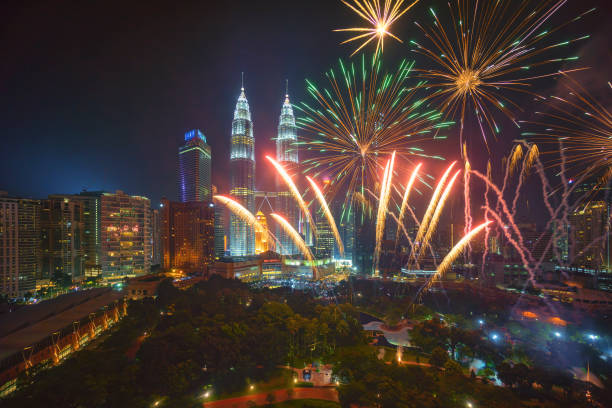fireworks at kuala lumpur - new year day stock photos and pictures