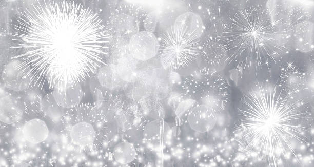Fireworks at New Year stock photo