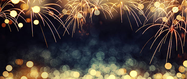fireworks at new year - firework display stock pictures, royalty-free photos & images