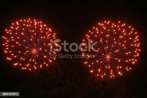 Colorful pattern of a spectacular fireworks in St. Marteen for celebrating New Year's Eve.