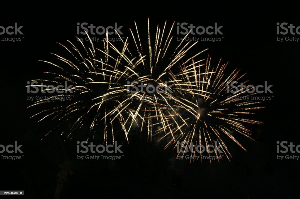 Fireworks at New Year's evening stock photo