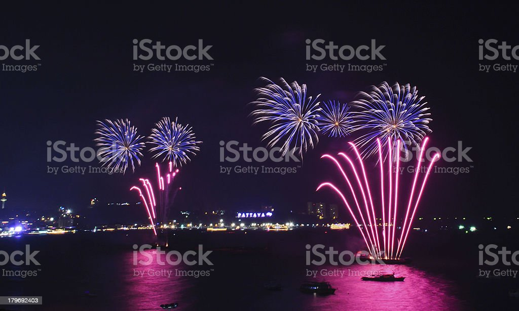 Fireworks at Pattaya beach, Thailand royalty-free stock photo