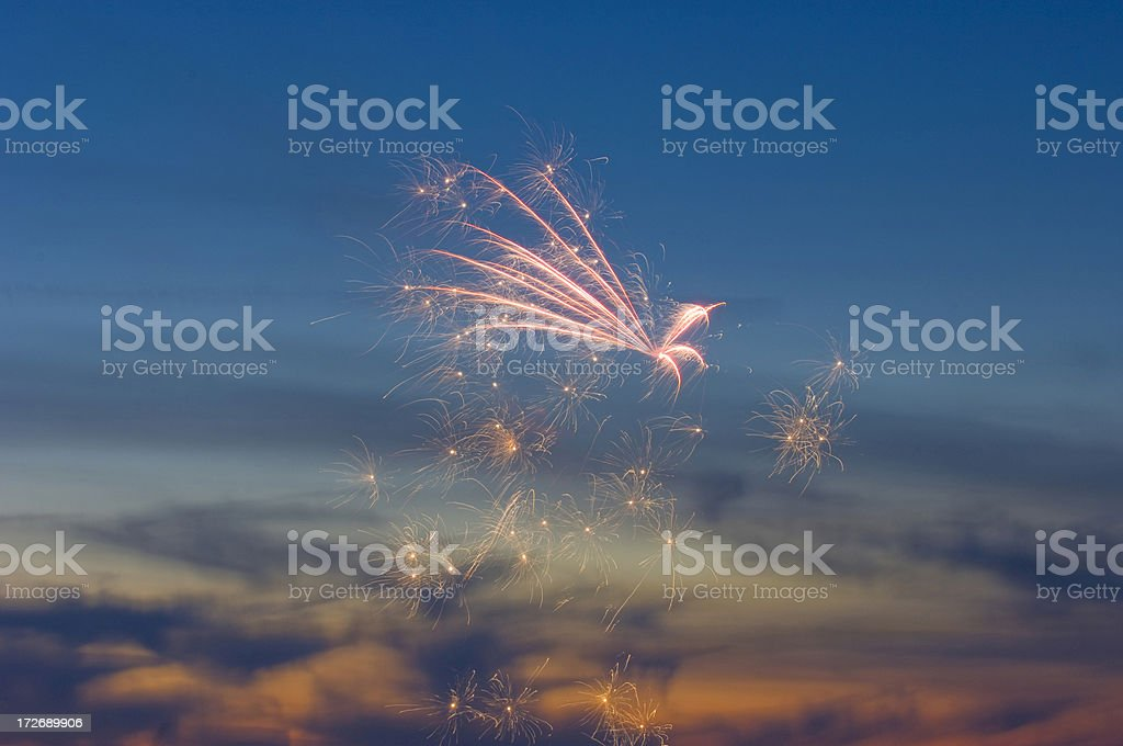 Fireworks At Sunset royalty-free stock photo