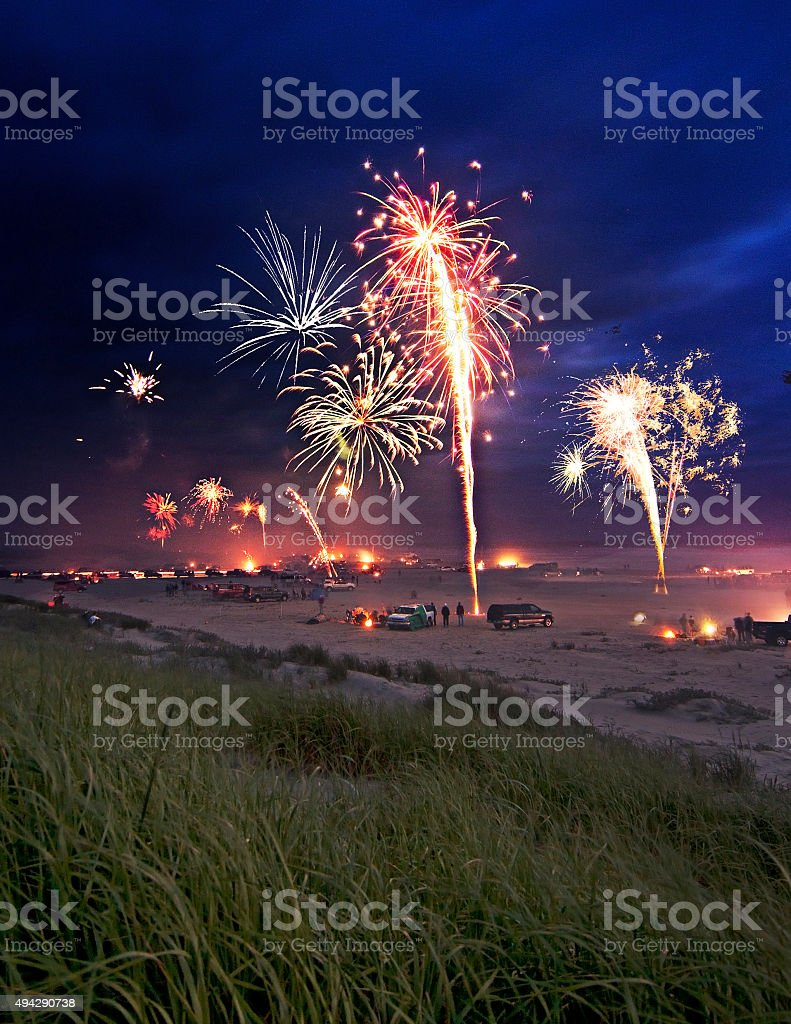 fireworks at the Beach stock photo