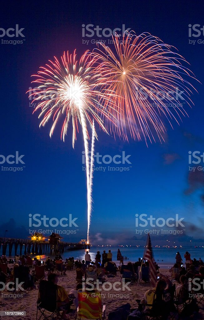 Fireworks at the Beach Red Bursts With Light in Sky royalty-free stock photo