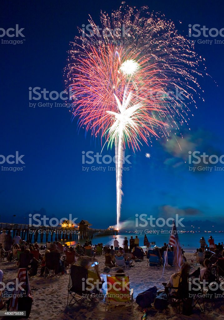 Fireworks at the Beach Red Bursts With Light in Sky stock photo