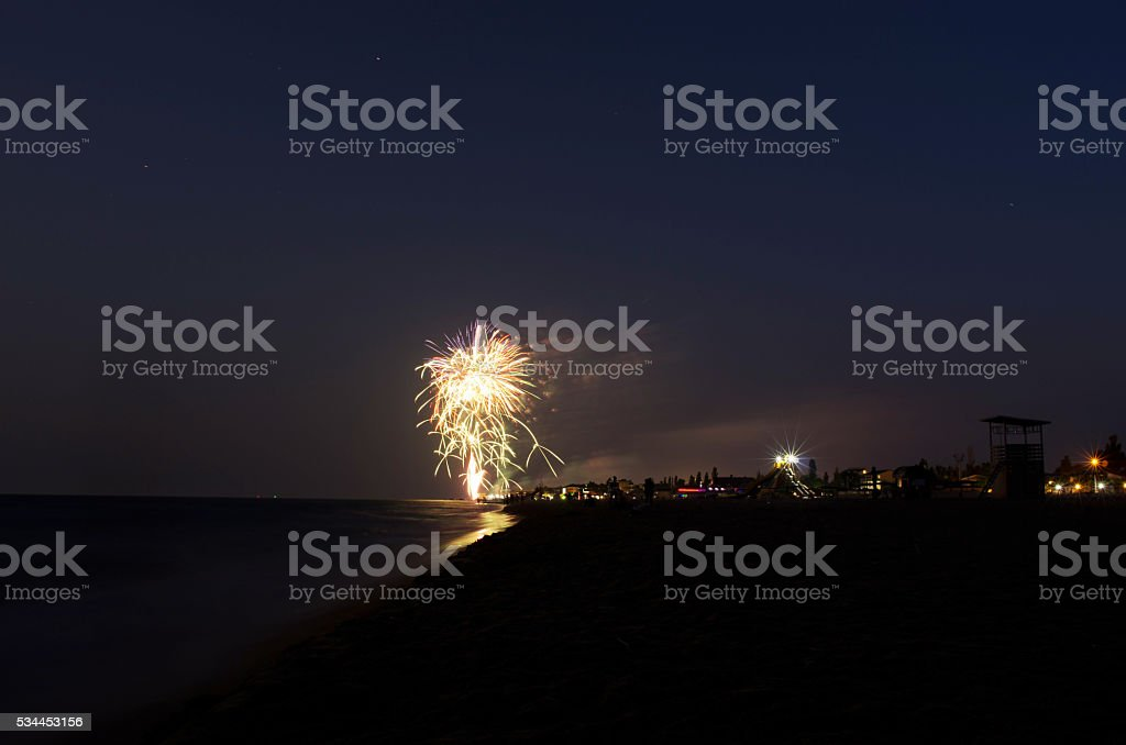Fireworks at the beach,  taken at the fireworks festival stock photo