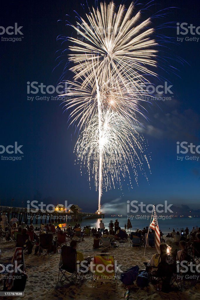 Fireworks at the Beach White Gold Bursts stock photo