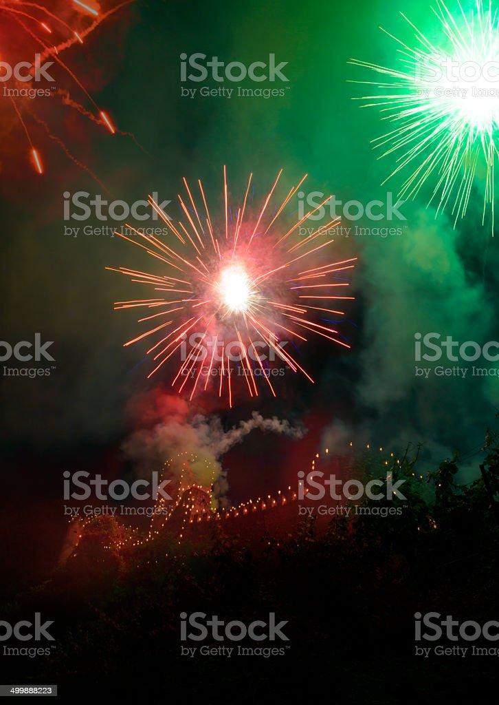 Fireworks at the castle Hinterhaus stock photo