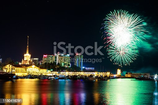 istock Fireworks at the port of Sochi, Russia 1130416291