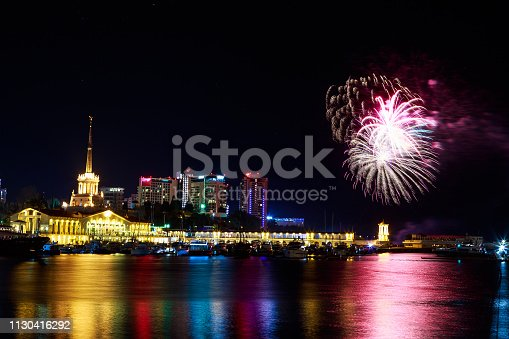 istock Fireworks at the port of Sochi, Russia 1130416292
