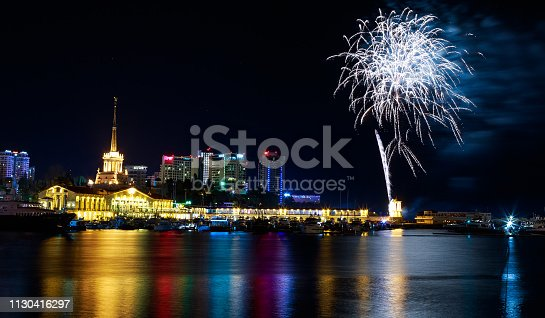 istock Fireworks at the port of Sochi, Russia 1130416297