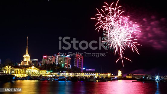 istock Fireworks at the port of Sochi, Russia 1130416298