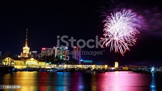 istock Fireworks at the port of Sochi, Russia 1130416299