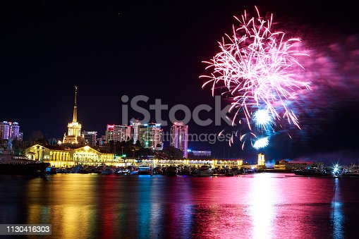 istock Fireworks at the port of Sochi, Russia 1130416303