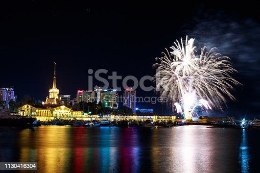 istock Fireworks at the port of Sochi, Russia 1130416304