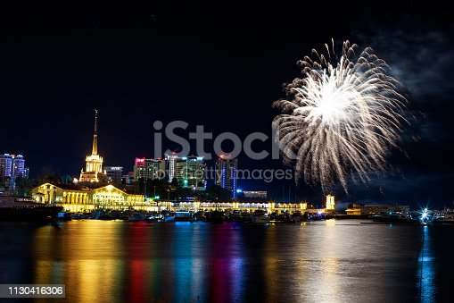 istock Fireworks at the port of Sochi, Russia 1130416306