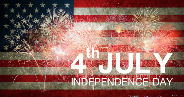 Fireworks background for 4th of July Independense Day stock photo