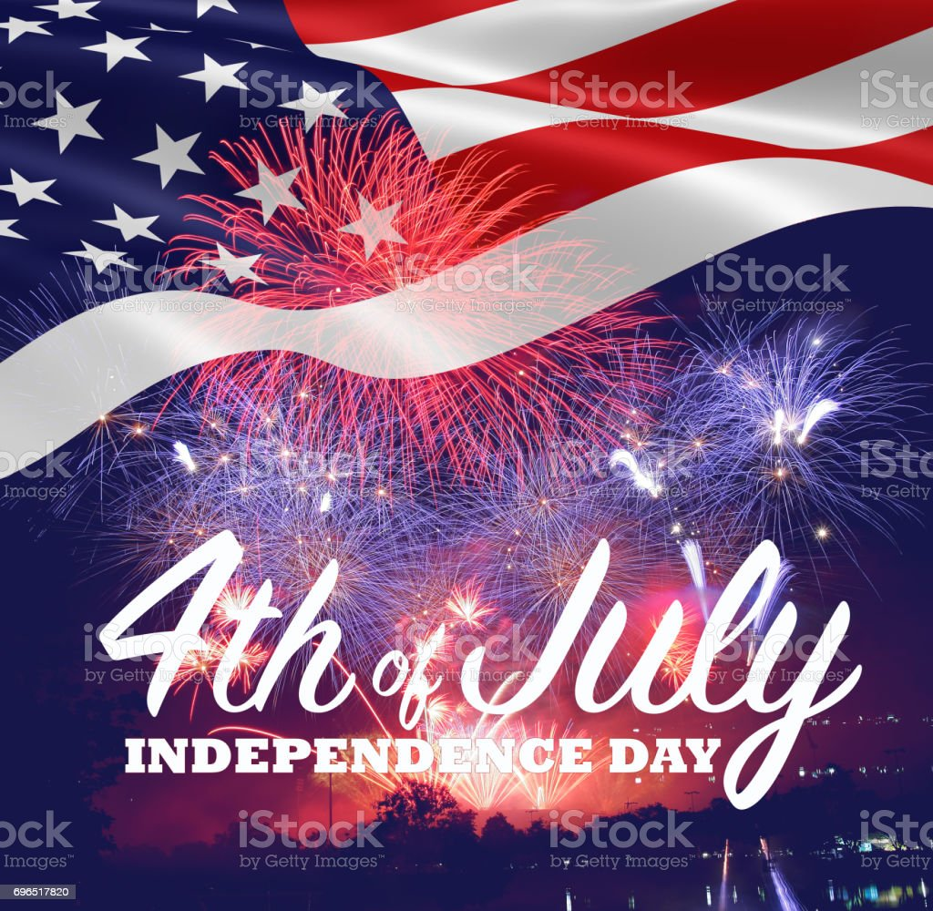 Fireworks background for 4th of July Independense Day. Fourth of July Independence Day card. Independence day fireworks. Independence day celebrate. Independence Day festive. 4th Century BC Stock Photo