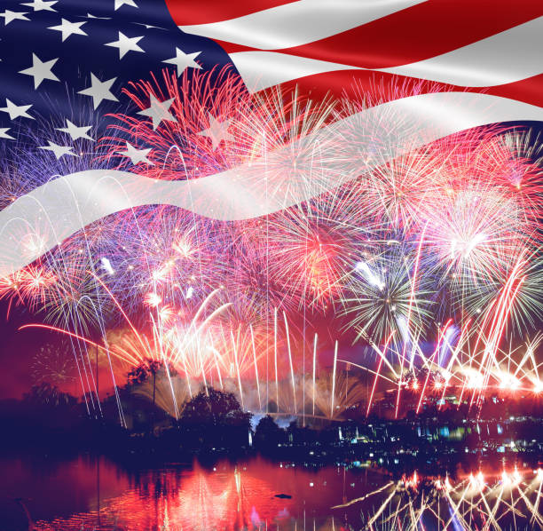 Fireworks background for 4th of July Independense Day. Fourth of July Independence Day card. Independence day fireworks. Independence day celebrate. Independence Day festive. 4th century bc stock pictures, royalty-free photos & images