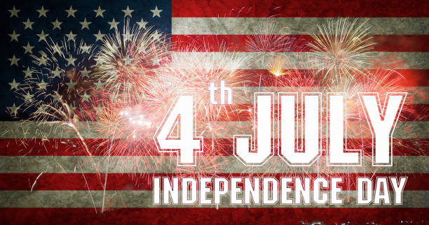 Fireworks background for 4th of July Independense Day. stock photo
