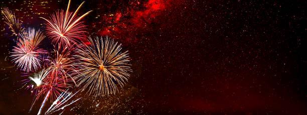 fireworks background for anniversary, new year and festivals - firework imagens e fotografias de stock