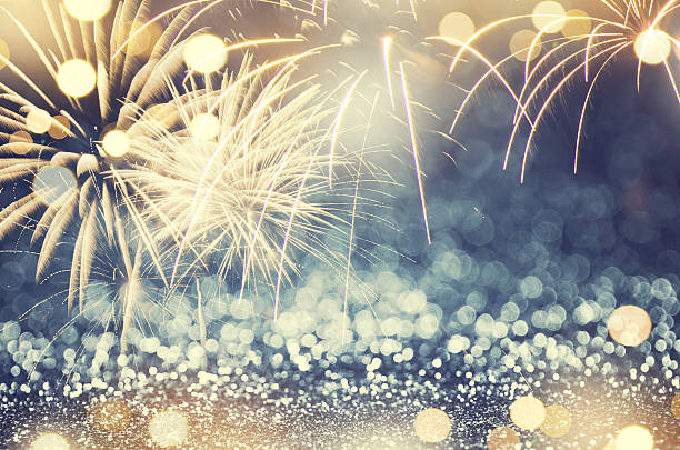 fireworks background New Year stock photo