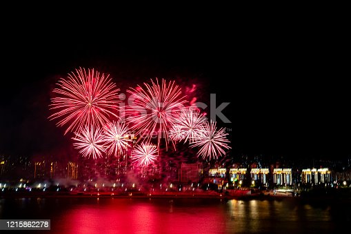 Fireworks blooming over the city
