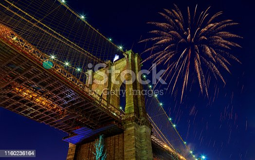 istock Fireworks bursting from the Brooklyn bridge at dusk 1160236164