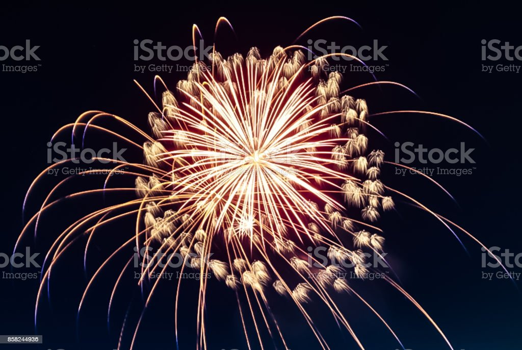 Fireworks bursting in the sky on the Fourth of July stock photo