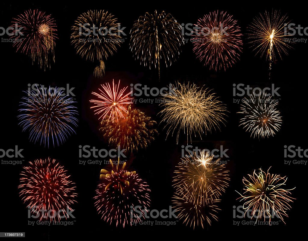 Fireworks bursts royalty-free stock photo