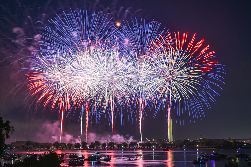 Colorful fireworks at Washington DC, capital city of United States of America. Celebrating Independence Day, 4th of July