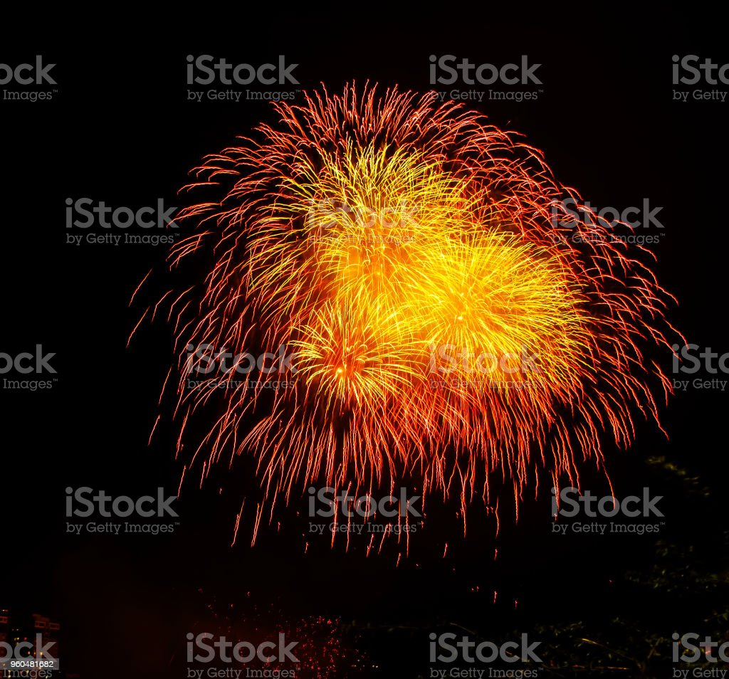 Fireworks celebrating the coming New Year 2019 stock photo