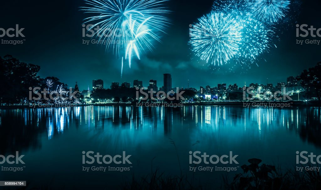 Fireworks celebrating the coming New Year stock photo