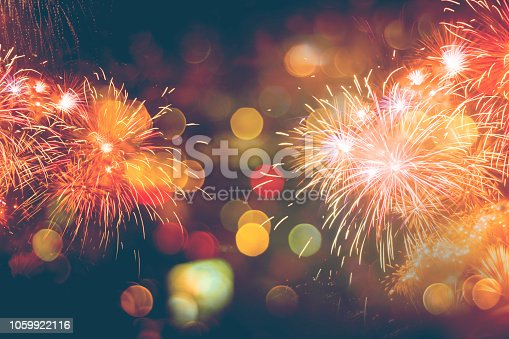 istock Fireworks Celebration Happy New Year with bokeh 1059922116
