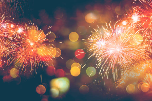 Fireworks Celebration Happy New Year with bokeh Fireworks and bokeh in New Year eve and copy space. Abstract background holiday. new year's eve stock pictures, royalty-free photos & images