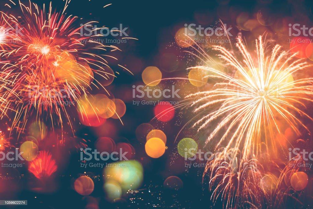 Fireworks Celebration Happy New Year with bokeh - Royalty-free 2018 Foto de stock