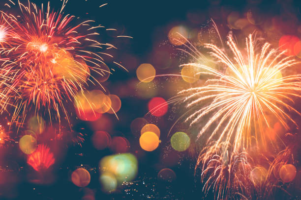 fireworks celebration happy new year with bokeh - celebration stock pictures, royalty-free photos & images