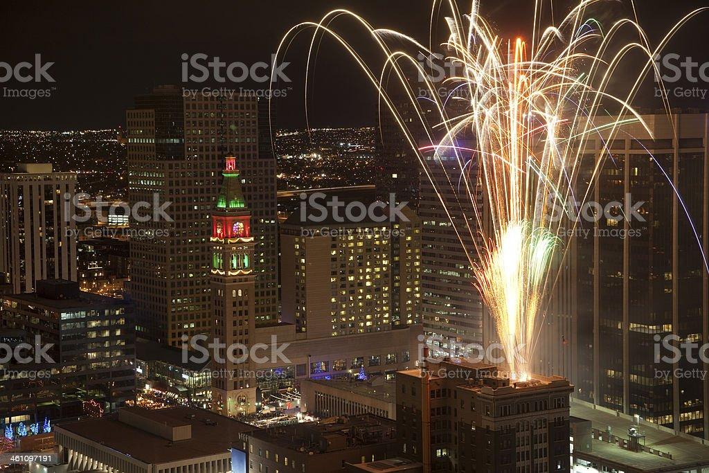 Fireworks celebration over Downtown Denver Colorado stock photo