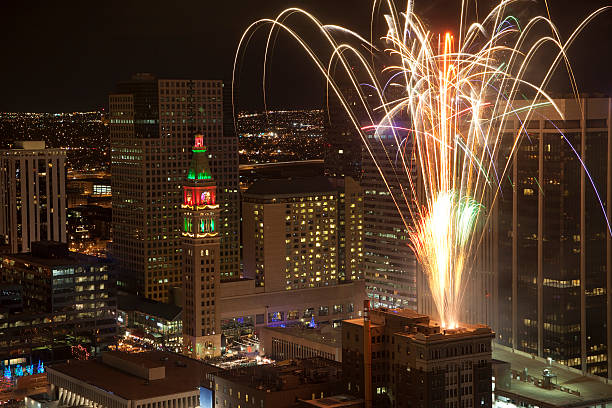 Fireworks celebration over Downtown Denver Colorado stock photo
