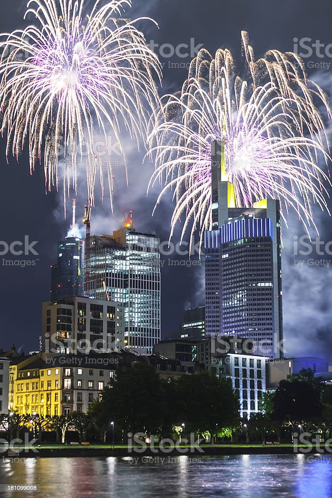 Fireworks Celebration over Frankfurt, Germany royalty-free stock photo