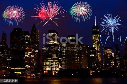 istock Fireworks celebration over Manhattan, NYC, USA 1027242434