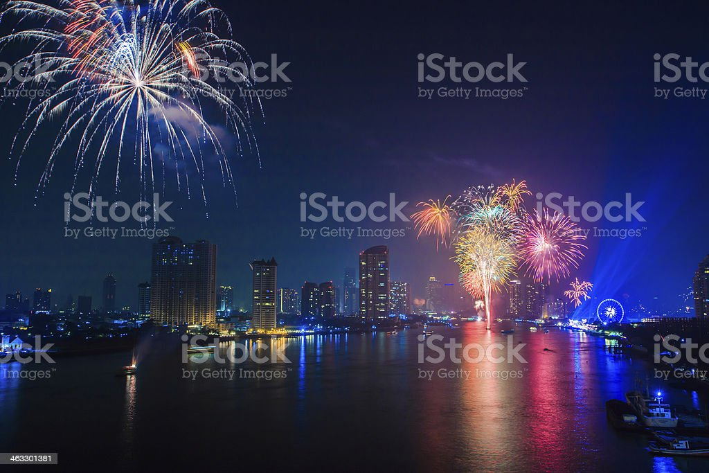 fireworks countdown happy new year bangkok asia thailand royalty free stock photo