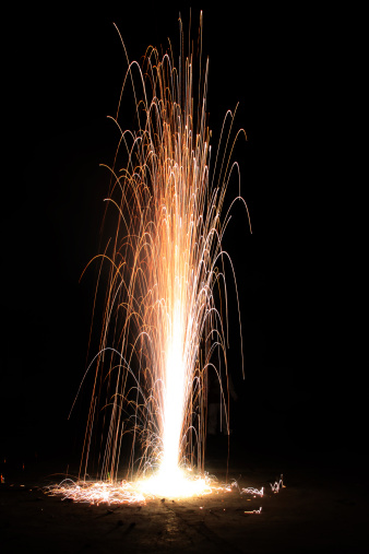 Image showing firework in the indian festival of light called as Diwali or Dipawali.
